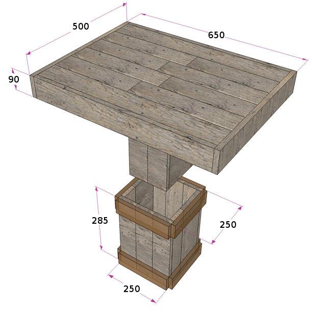 чертёж стола с размерами