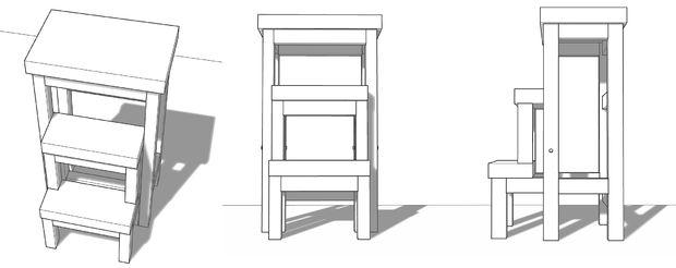 разные ракурсы деревянного складного стула стремянки