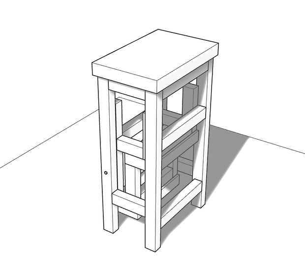 деревянный стул-стремянка в сложенном виде