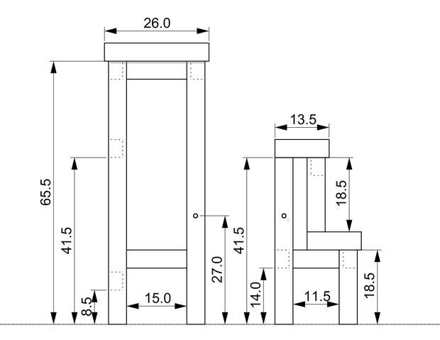размеры второго варианта стула-стремянки