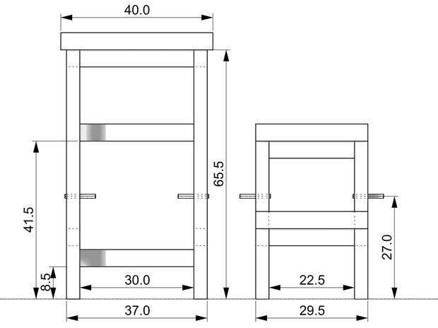 размеры деревянного стула-стремянки
