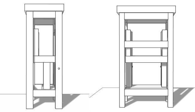 третий вариант стула-стремянки в сложенном виде
