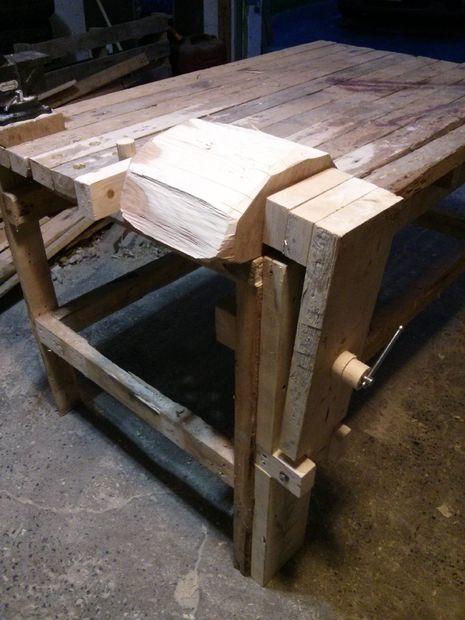 Деревянные тиски для верстака из старой струбцины