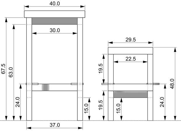 размеры 4-го варианта складного стула-стремянки