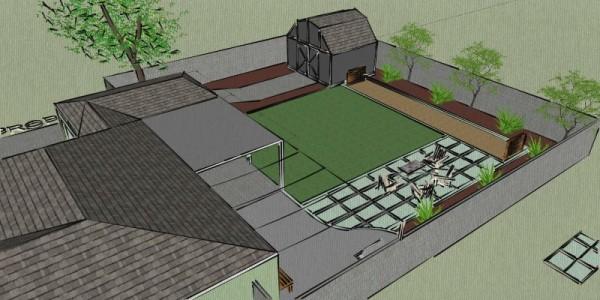 План участка во дворе дома