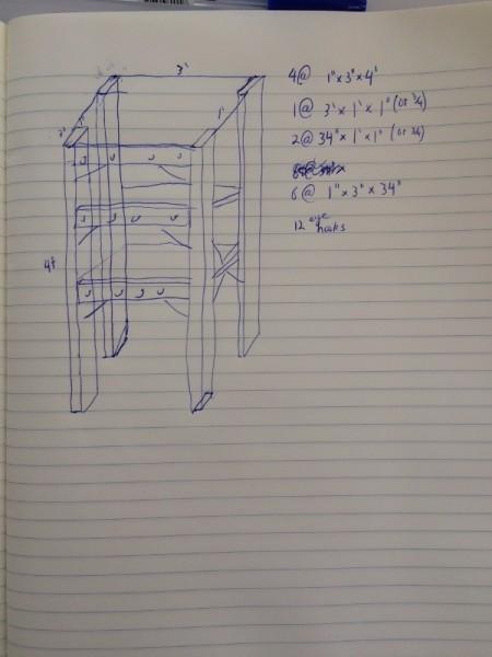 Эскиз кухонного шкафа на бумаге
