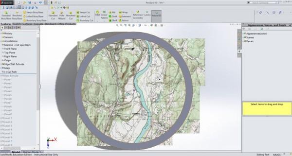 Фрагмент топографической карты в SolidWorks