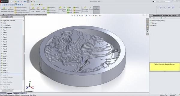 Топография на кулоне в SolidWorks