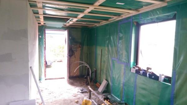 Стены и потолок прихожей обшиты полиэтиленом