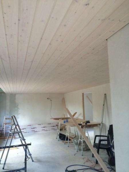 Потолок зашитый деревом