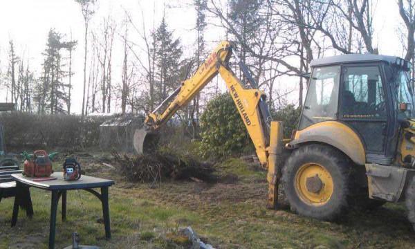 Трактор сгребает мусор в саду
