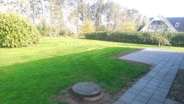 Сад с травой и уложенной плиткой