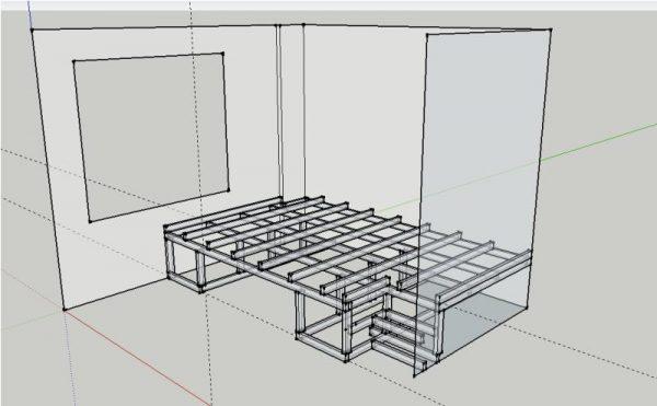 Схема сцены и выдвижной кровати