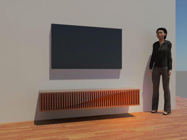 3-D рисунок женщины, телевизора и подставки